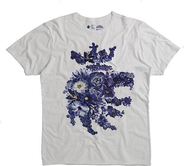Camiseta Estampa Leão Floral Gola Redonda Malha Algodão - Branco