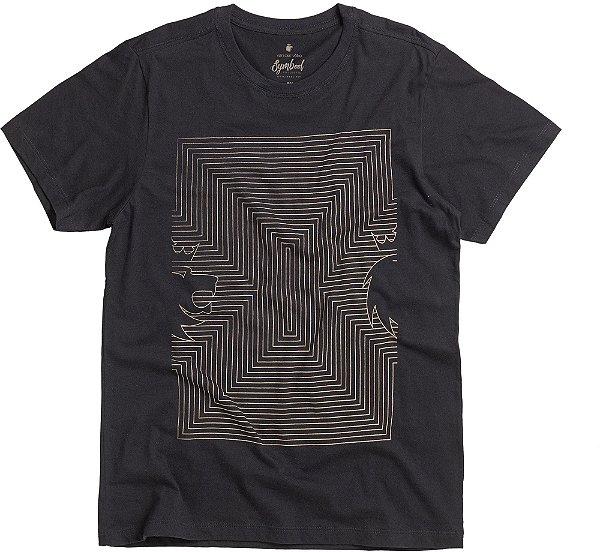 Camiseta Estampa Leão Geométrico Gola Redonda Malha Algodão - Preto