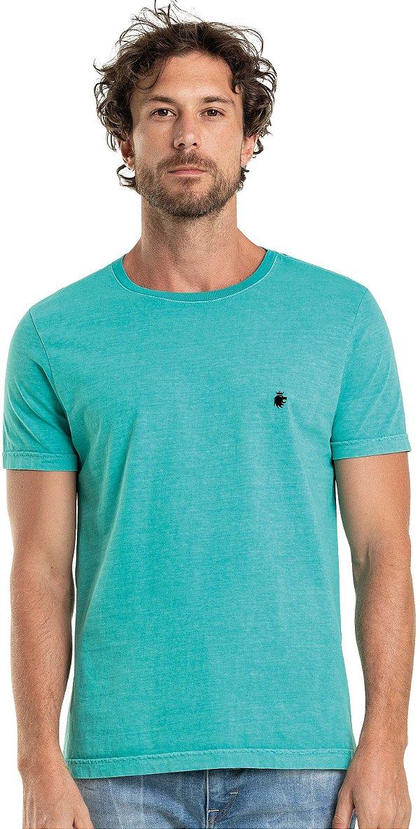 Camiseta Masculina Básica Estonada Gola Redonda Malha Algodão - Turquesa