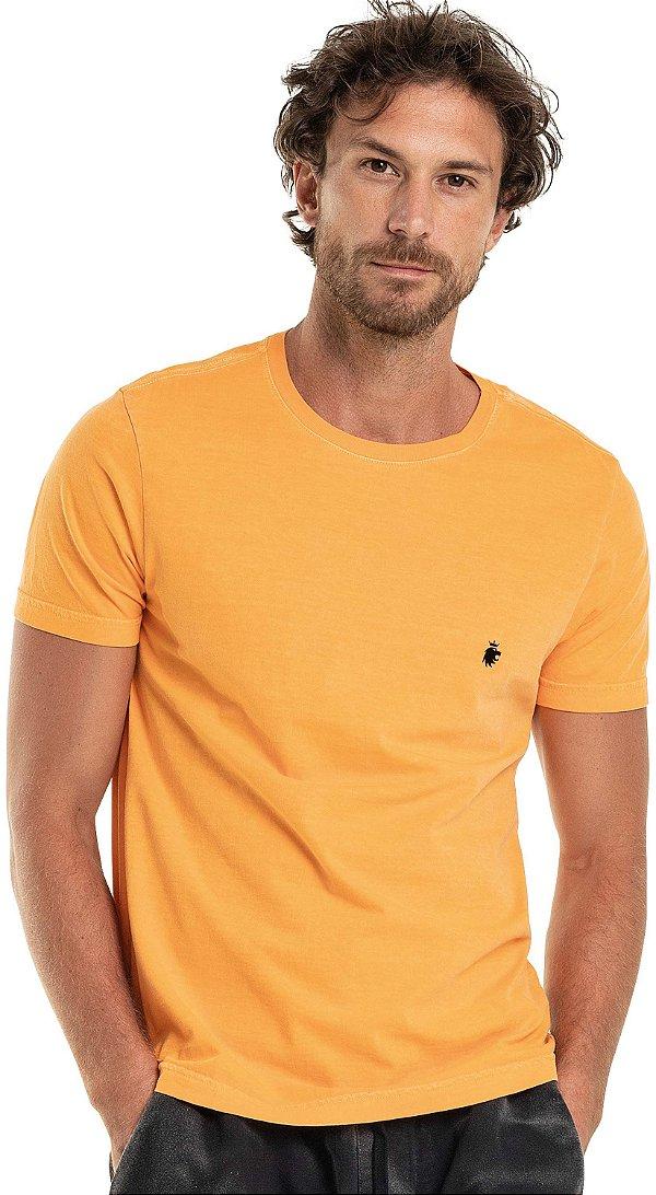Camiseta Masculina Básica Estonada Gola Redonda Malha Algodão - Laranja