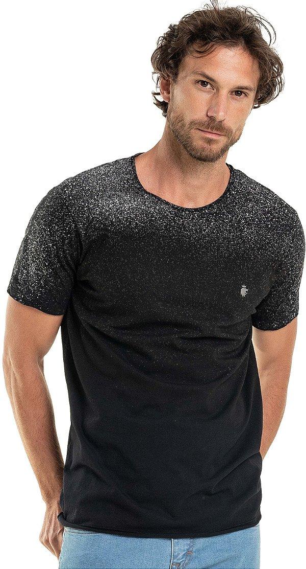 Camiseta Estampa Spray Respingos Gola Redonda Malha Algodão - Preto