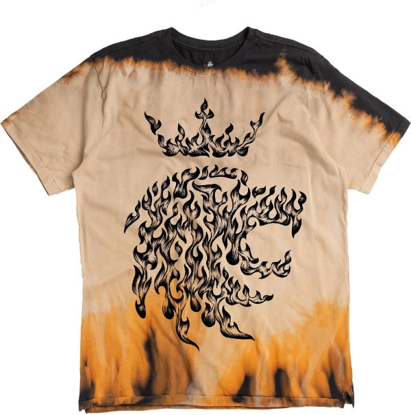 Camiseta Estampa Leão Fogo Gola Redonda Malha Algodão - Marrom
