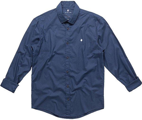 Camisa Social Básica Masculina Lisa Manga Longa - Azul
