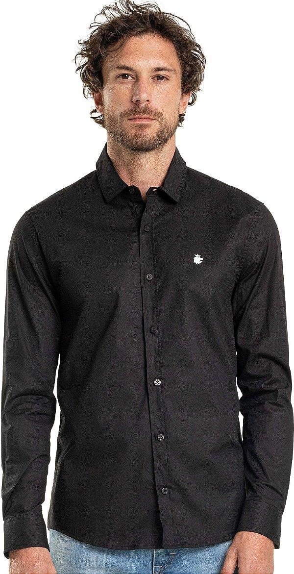 Camisa Social Básica Masculina Lisa Manga Longa - Preto