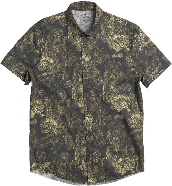 Camisa Masculina Estampada Étnica Manga Curta - Preto