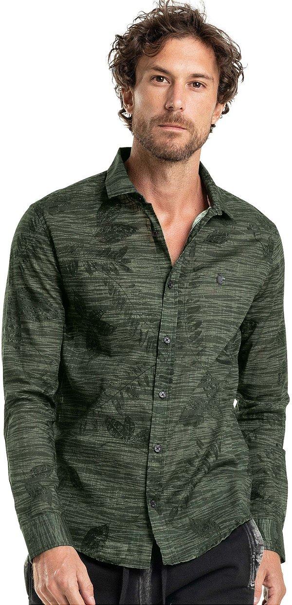 Camisa Masculina Estampada Folhagens Manga Longa - Verde
