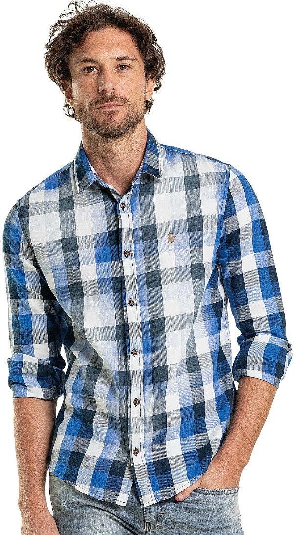 Camisa Xadrez Masculina De Manga Longa - Azul