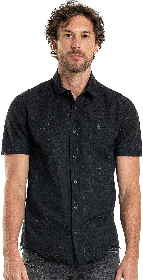 Camisa Masculina Lisa De Manga Curta - Preto