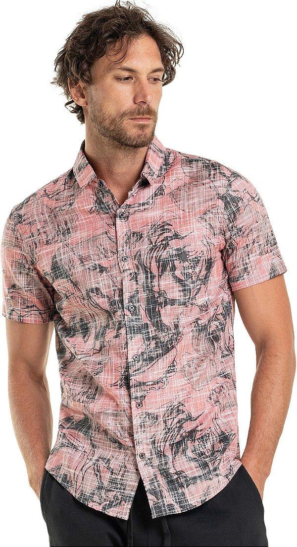 Camisa Unissex Manga Curta Estampa Floral Abstrata - Vermelho