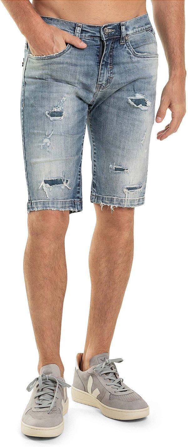Bermuda Jeans Masculina Slim Acabamento Desfiado E Puídos - Denim