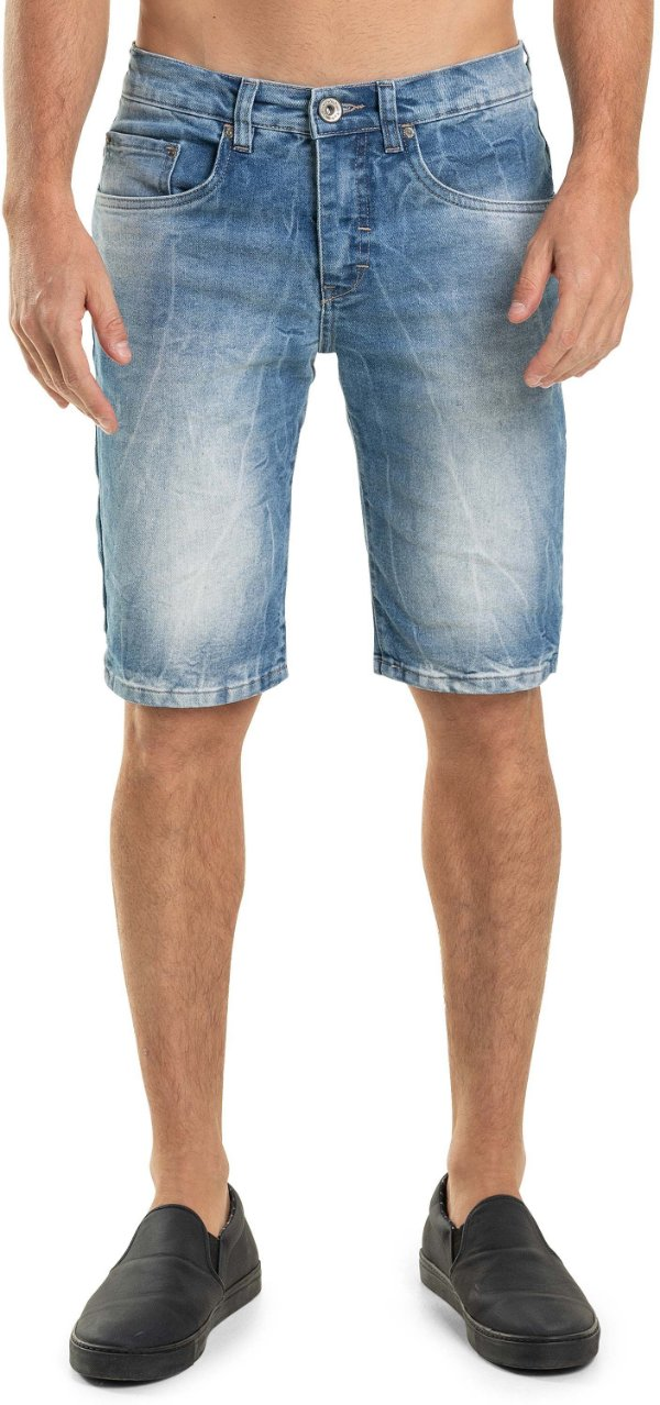 Bermuda Jeans Ecológico Masculina Slim Efeito Amassado - Denim