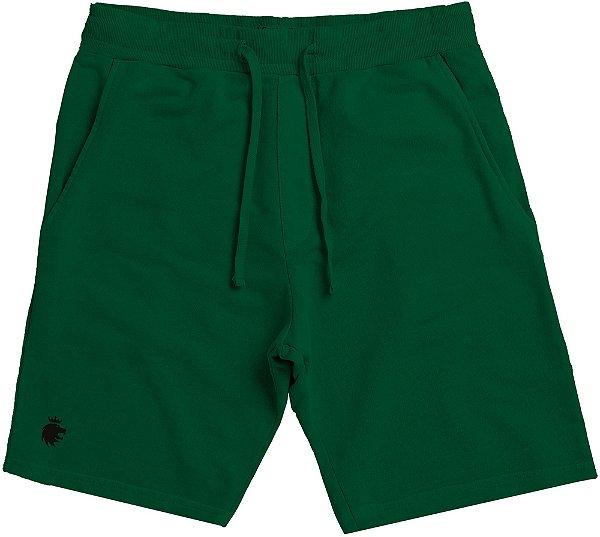 Bermuda Moletom Masculina Básica Elástico Cordão - Verde