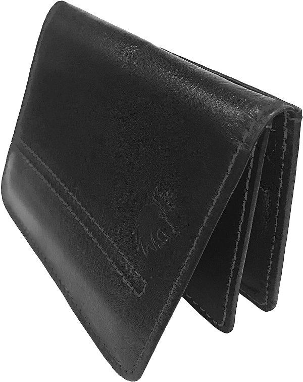 Carteira Couro Compartimento Para 4 Cartões Borda Arredondada - Preto