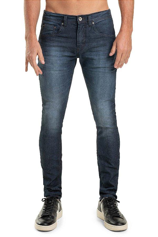 Calça Jeans Masculina Levemente Desbotada Com Bolsos Modelagem Slim - Denim