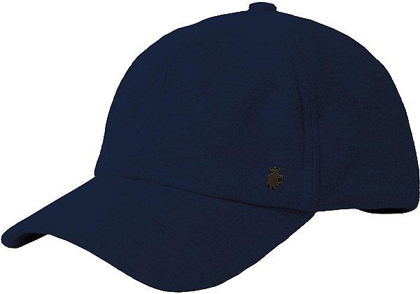 Boné Flex Aberto Aba Curva Moletom Detalhe Rebite Leão - Azul