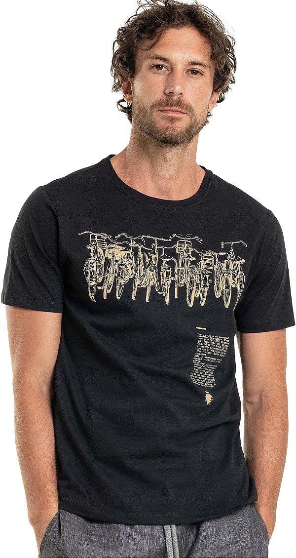 Camiseta Estampa Bike De Gola Redonda Malha Algodão - Preto