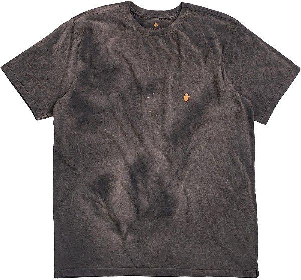 Camiseta Com Tingimento Diferenciado Gola Redonda Malha Algodão - Preto
