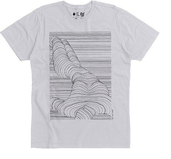 Camiseta Estampa Linhas Corpo Nú Gola Redonda Malha Algodão - Branco