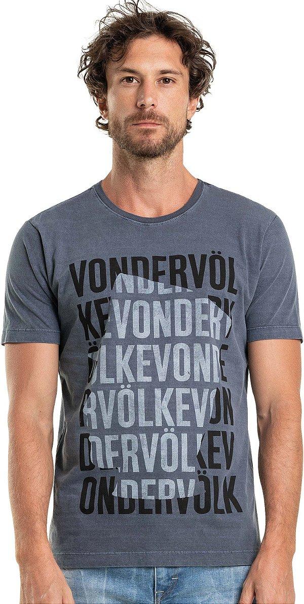 Camiseta Estampa Lettering Gola Redonda Malha Algodão - Azul