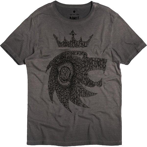 Camiseta Estampa Leão Madeira Gola Redonda Malha Algodão - Preto