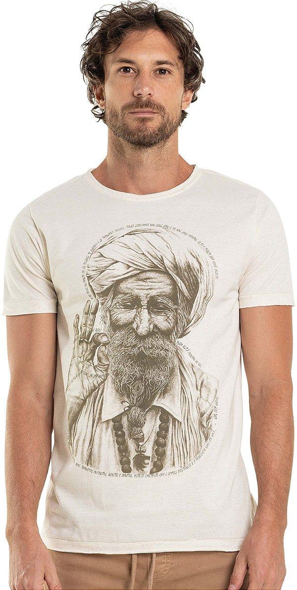 Camiseta Estampa Homem Indiano Gola Redonda - Bege