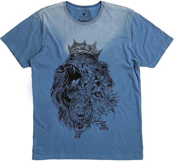 Camiseta Estampa Leão Rugindo Gola Redonda Malha Algodão - Azul