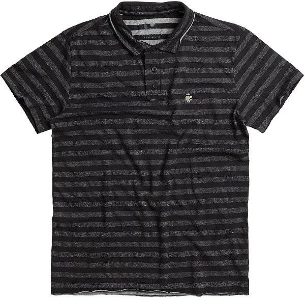Camisa Polo Masculina Estampa Listrada - Cinza Mescla