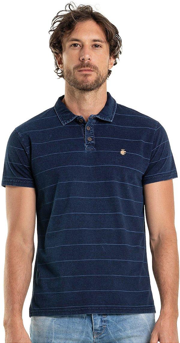 Camisa Polo Masculina Listrada Marmorizada Malha Índigo - Azul