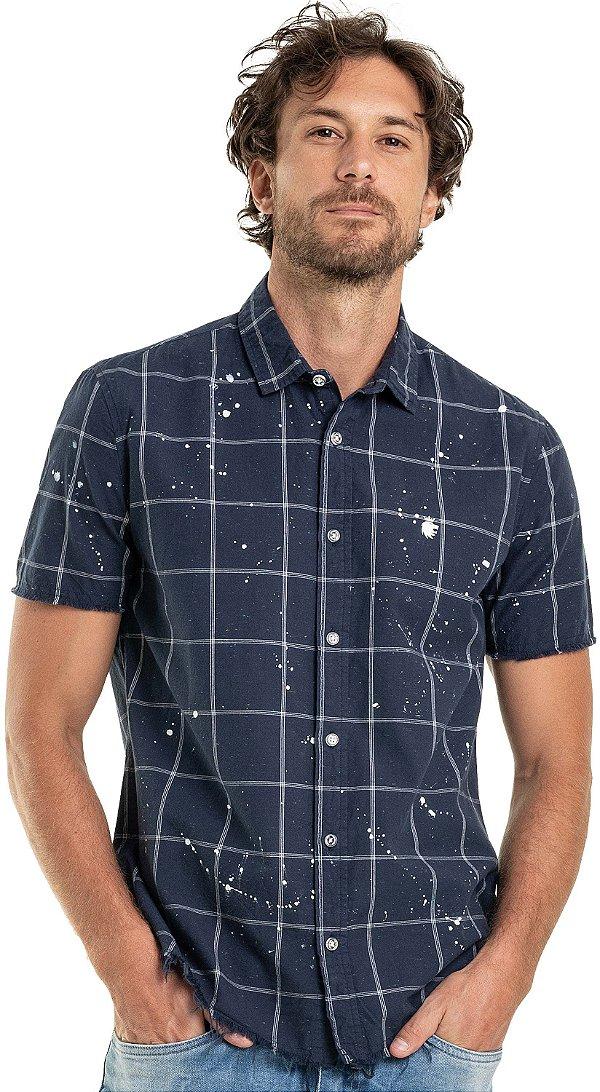 Camisa Xadrez Masculina Efeito Respingos De Manga Curta - Azul