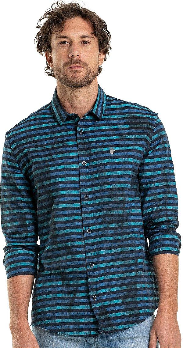 Camisa Masculina Listrada Efeito Amassado De Manga Longa - Azul