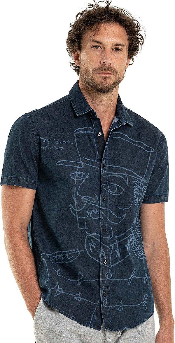 Camisa Jeans Masculina Manga Curta Estampa À Laser - Denim