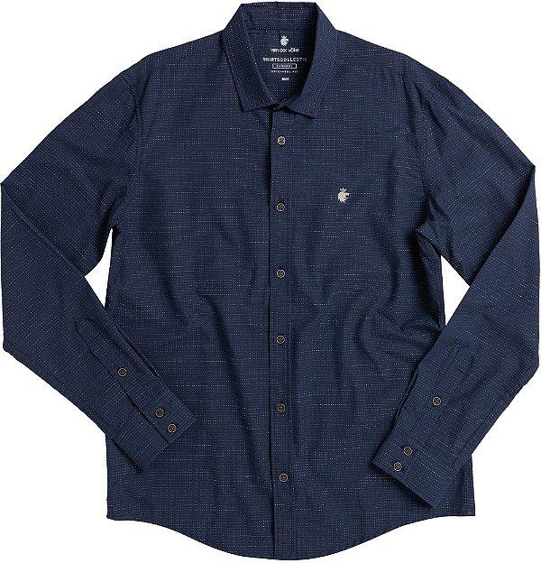 Camisa Masculina Manga Longa Estampada Poá - Azul