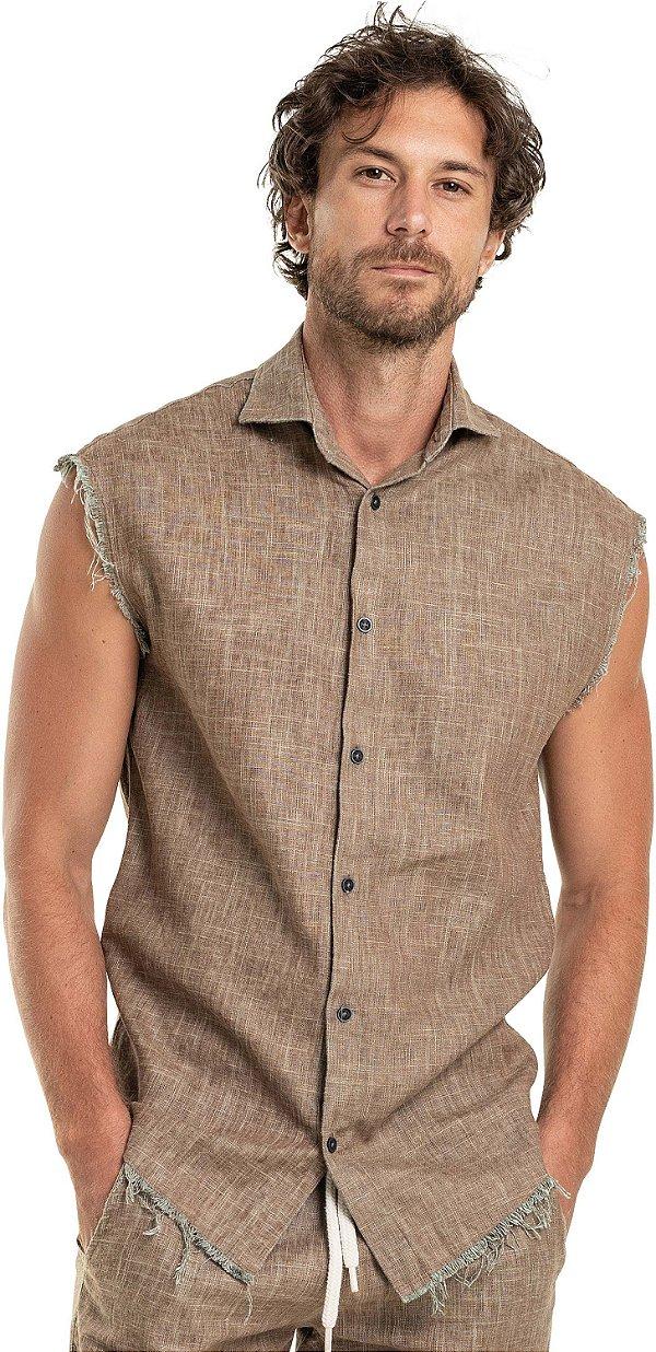 Camisa Masculina De Linho Sem Mangas Acababento Desfiado - Marrom