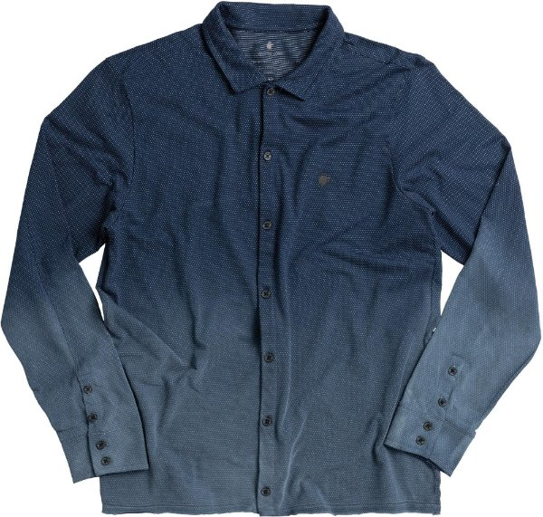 Camisa Masculina Manga Longa Estampa Pontilhada Malha Maquinetada - Azul