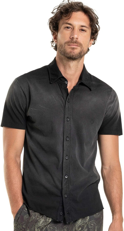 Camisa Masculina Manga Curta Efeito Degradê Malha - Preto
