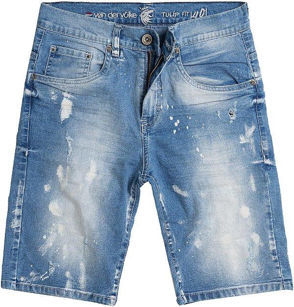 Bermuda Jeans Masculina Destroyed Com Bolsos Modelagem Slim - Denim
