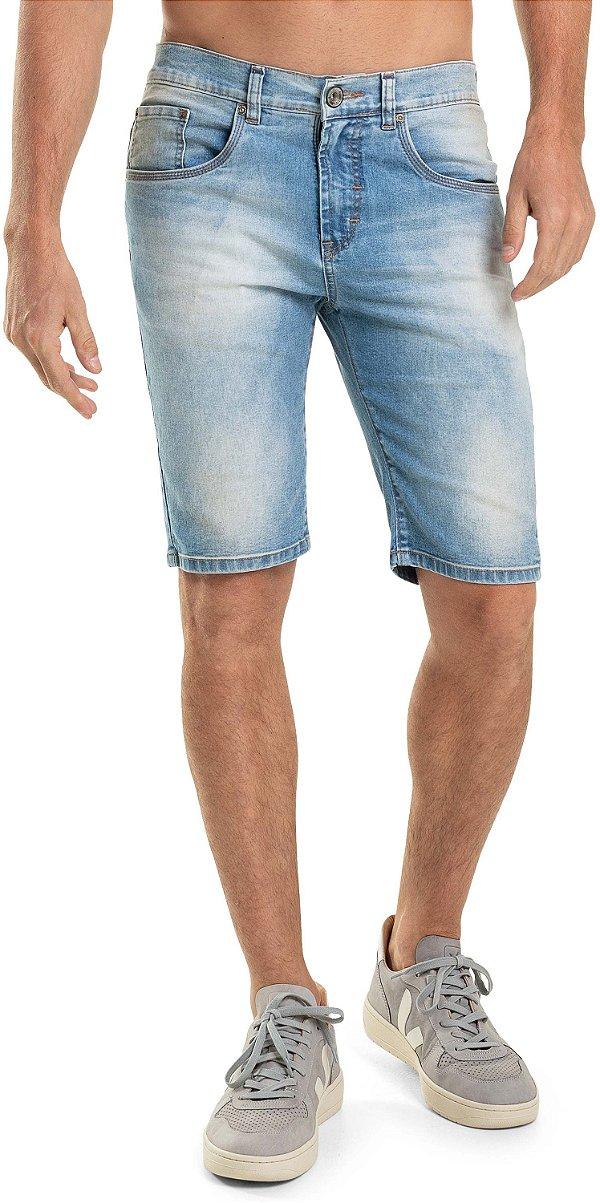 Bermuda Jeans Masculina Com Bolsos E Modelagem Slim - Denim