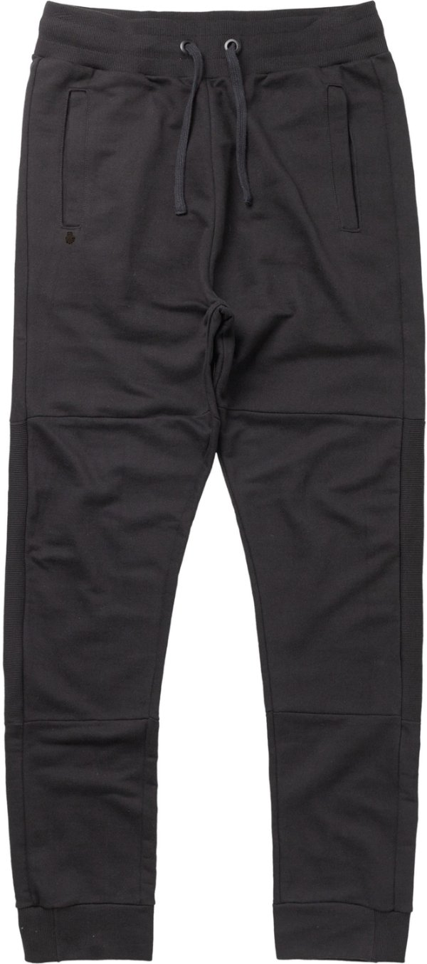 Calça Moletom Masculina Com Recortes Elástico E Bolso - Preto
