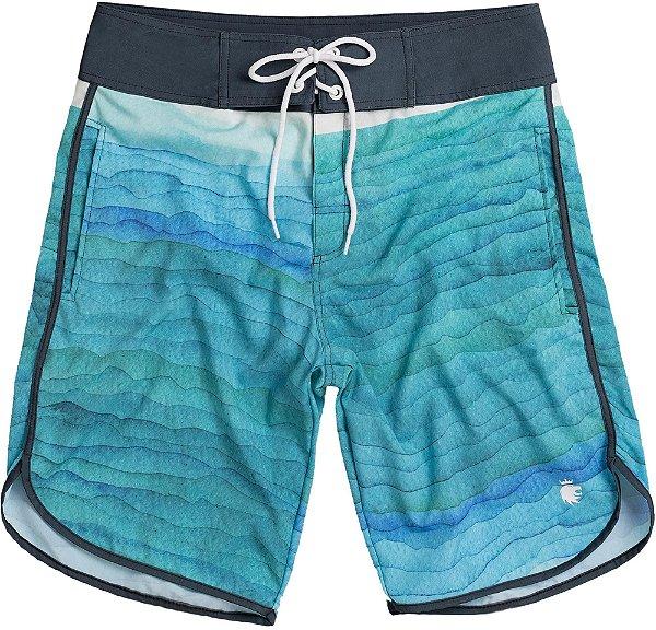 Bermuda Banho Masculina Estampa Ondas Detalhe Contrastante - Azul