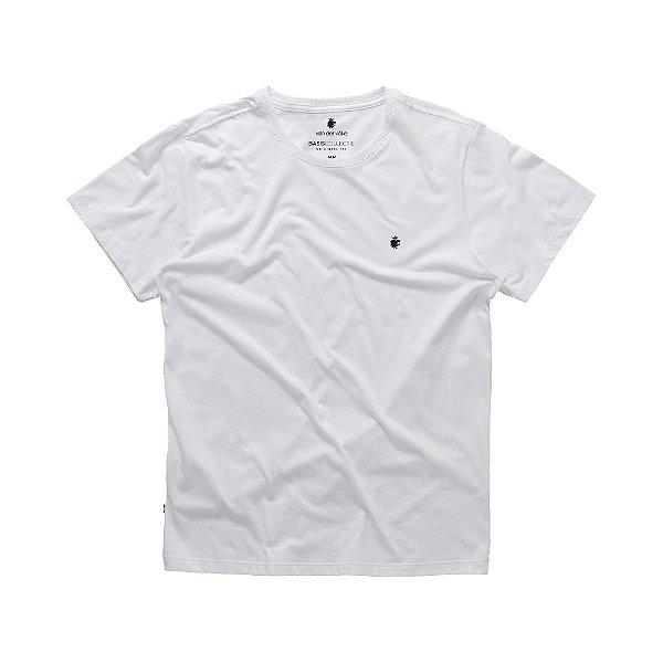 Camiseta básica masculina de gola redonda - Branco