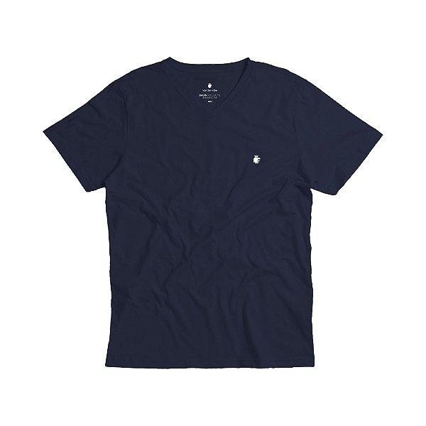 Camiseta básica masculina de gola V - Azul