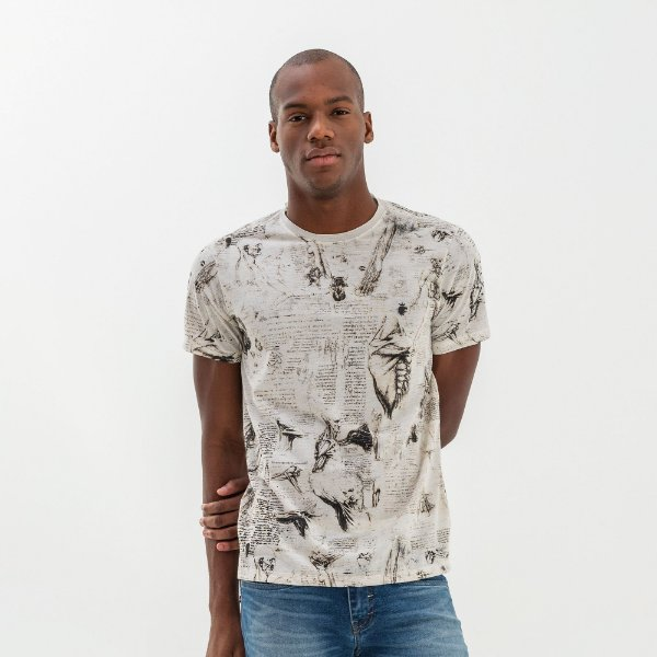 Camiseta masculina modelagem tradicional estampa da anatomia - Bege