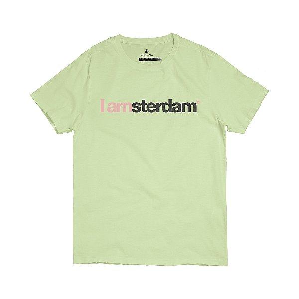 Camiseta masculina modelagem tradicional estampa I Am Amsterdam - Verde