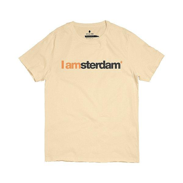 Camiseta masculina modelagem tradicional estampa I Am Amsterdam - Bege