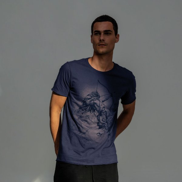 Camiseta masculina estampa do signo de Sagitário - Azul