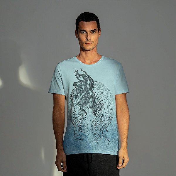 Camiseta masculina estampa do signo de Aquário - Turquesa
