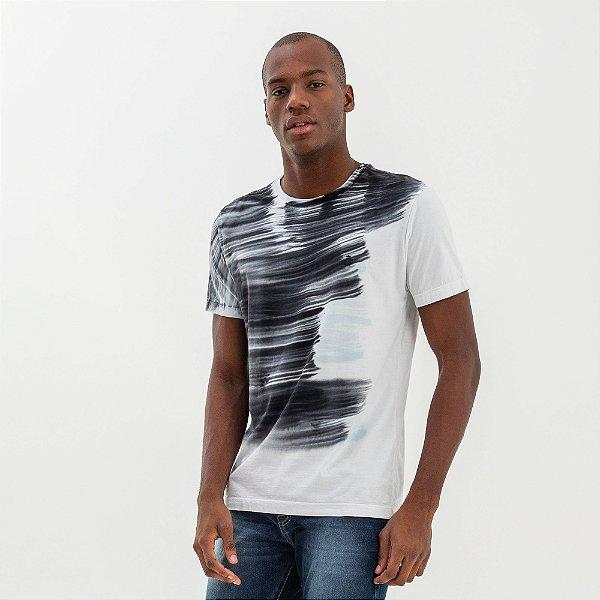 Camiseta masculina com efeito de lavanderia pincelado - Branco
