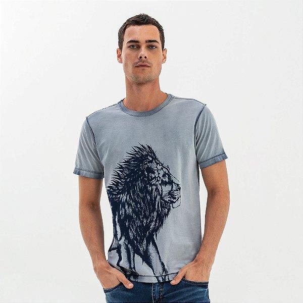 Camiseta masculina dupla face com estampa de leão - Azul