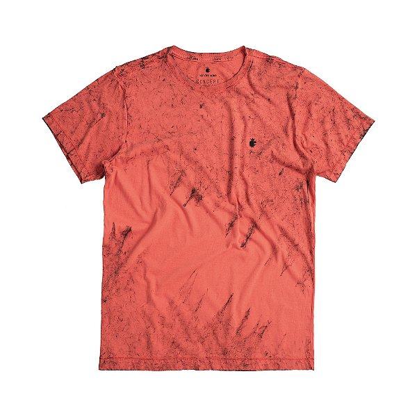 Camiseta masculina efeito marmorizado modelagem padrão - Vermelho