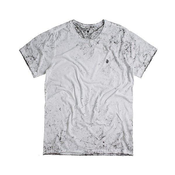 Camiseta masculina efeito marmorizado e modelagem padrão - Branco